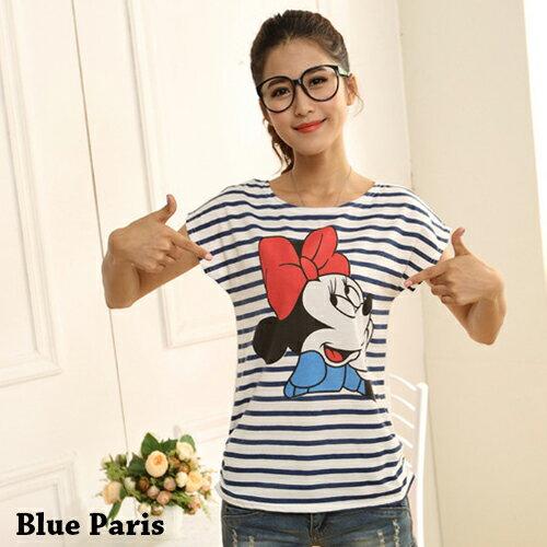 T恤 ~ 多款卡通圖案寬鬆蝙蝠袖上衣~29045~藍色巴黎~4色~