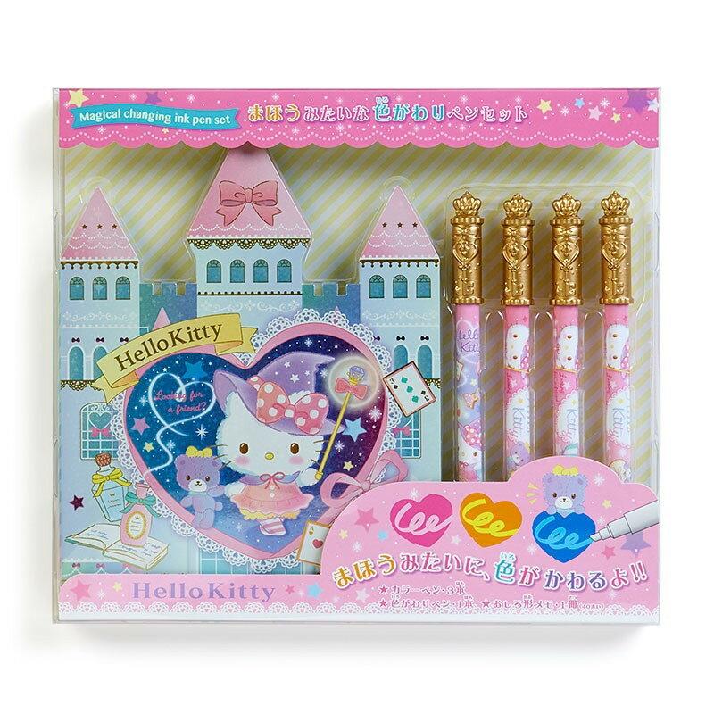 X射線【C844106】Hello Kitty 變色筆組附便條紙,多色筆/多用筆/彩色筆/便條本/畫畫冊/文具組