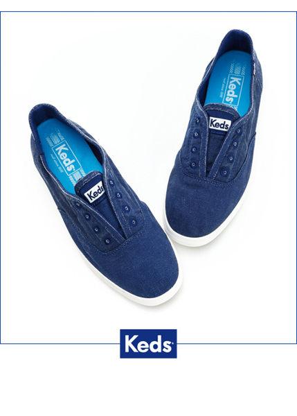 【KEDS 85折│全店免運│結帳輸入『fashion2228-2』滿$888現折$100】KEDS  經典樂活水洗休閒鞋-海軍藍(限量) 套入式│懶人鞋│平底鞋 1