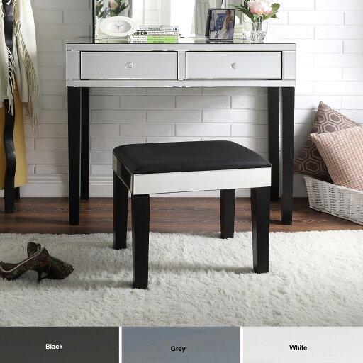Rosalind Mirrored Vanity Table - 2 drawers Stool Set Elegant Design Modern & Contemporary Inspired Home