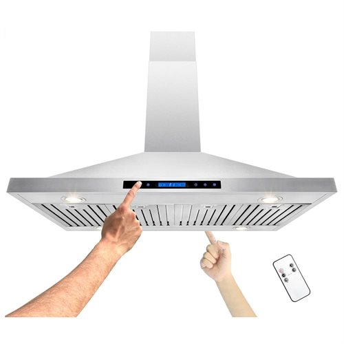 "48"" Stainless Steel Island Mount Range Hood Touch Screen Timer Display Light Lamp Baffle 1"
