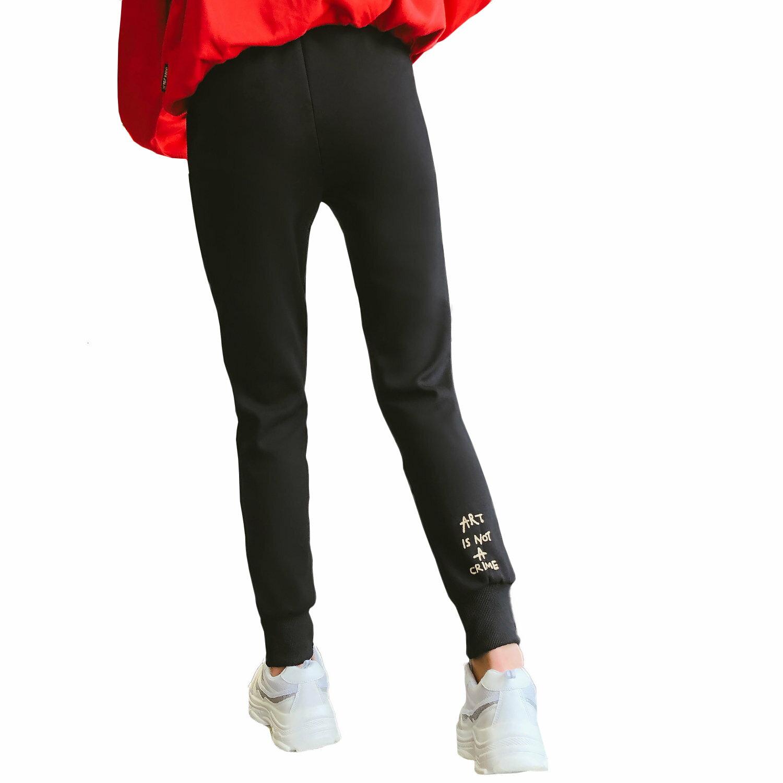 休閒褲--時尚舒適鬆緊繫帶口袋束口修身百搭休閒運動長褲(黑XL-5L)-P140眼圈熊中大尺碼 0