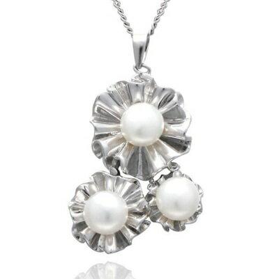 ~925純銀項鍊 珍珠吊墜~簡潔唯美花朵 生日情人節 女飾品73dh23~ ~~米蘭 ~