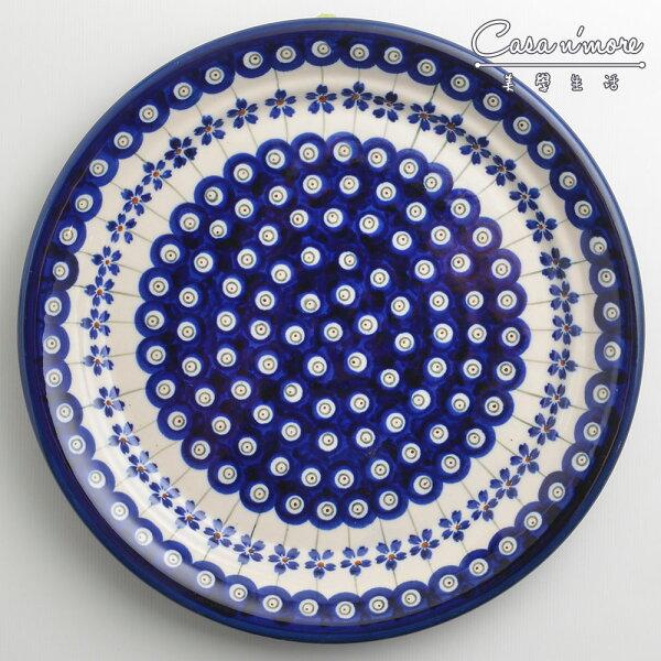 波蘭陶藏青小卉系列圓形餐盤陶瓷盤菜盤點心盤圓盤沙拉盤25cm波蘭手工製