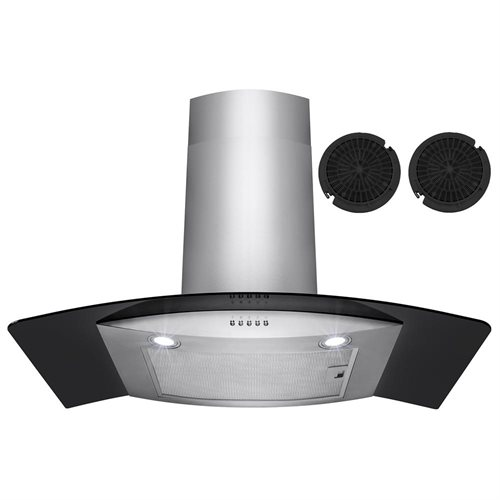 "30"" Stainless Steel Wall Mount Range Hood Black Tempered Glass Aluminum Grease Filter 0"