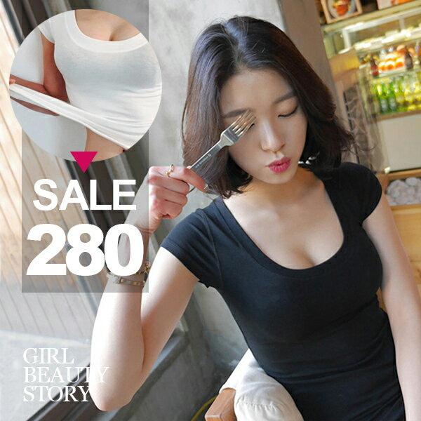 SISI【T6087】性感歐風緊身低胸U領純色短袖棉質短袖T恤上衣