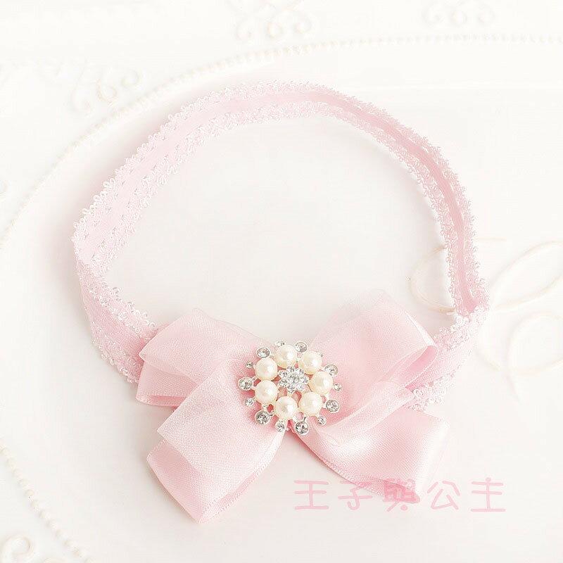嬰兒髮帶 粉紅雪紗鑲鑽蝴蝶結髮帶AB0004    日韓/韓版/髮飾/髮帶/髮圈/王子與公主
