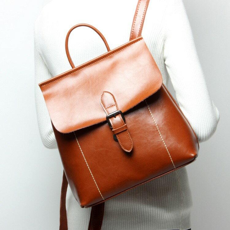 韓版牛皮女士雙肩背包多功能時尚潮流女包雙背包真皮背包 #MK051