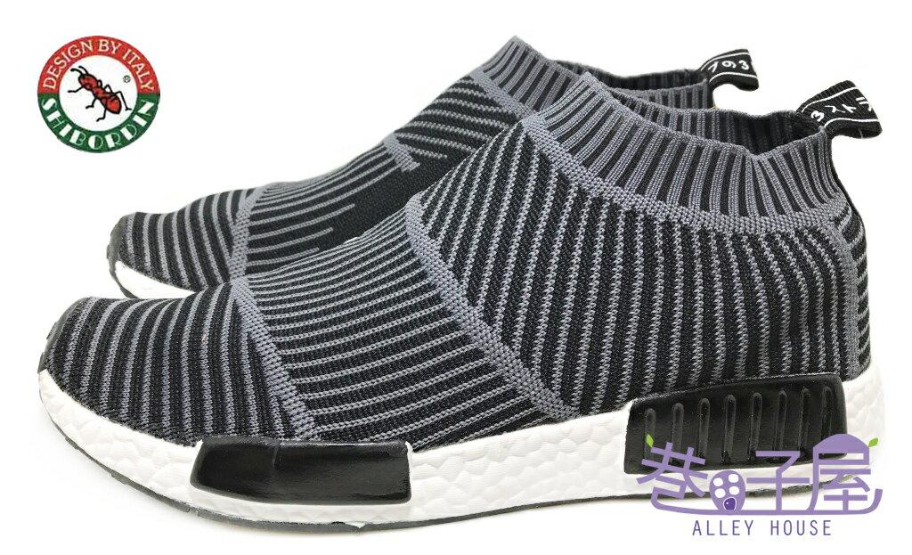 【巷子屋】喜伯登 紅螞蟻 男款編織襪套運動鞋 襪子鞋 [1612-2] 灰 超值價$498