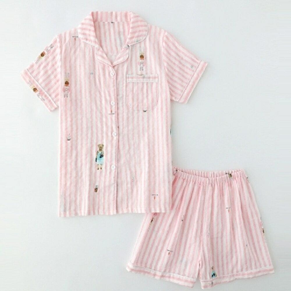 睡衣女夏天日繫清新純棉紗布薄款短袖短褲家居服套裝寬鬆可外穿 清涼一夏钜惠