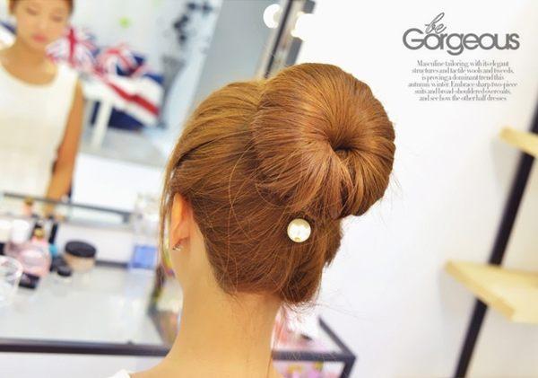 韓國時尚珍珠 盤髮器 丸子頭花苞頭 新款海綿盤髮工具 B100303【H00763】