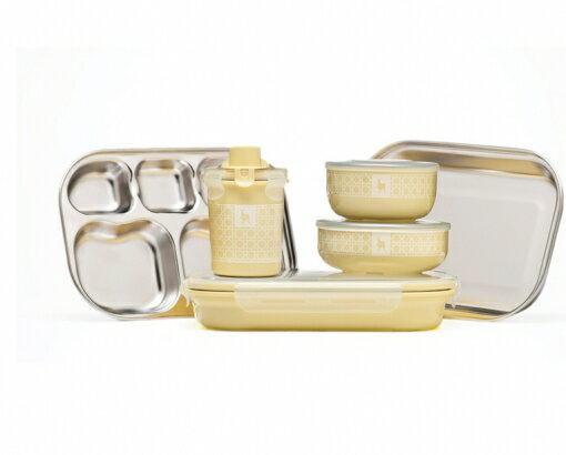 【美國Kangovou】小袋鼠不鏽鋼安全兒童餐具組-檸檬黃精美禮盒包裝
