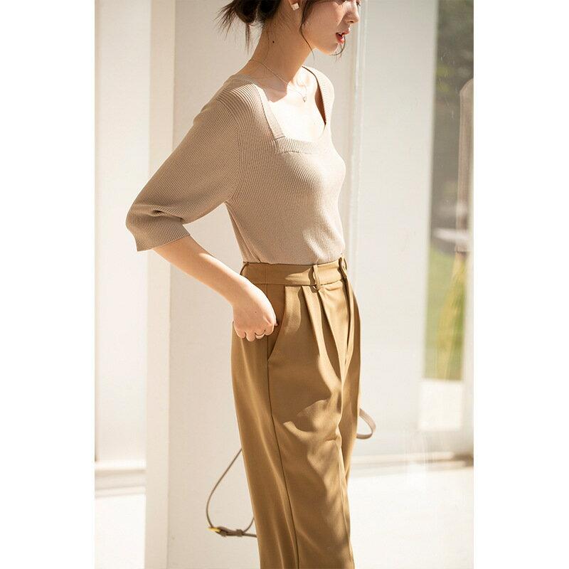 2021夏季新款方領鎖骨性感針織衫女法式氣質中袖修身打底上衣