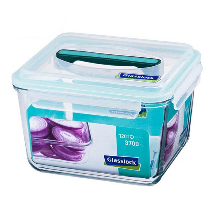 Glass Lock強化玻璃保鮮盒韓國原裝附提把野餐盒3700ml-RP604 -大廚師百貨