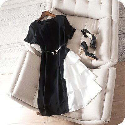 連身裙短袖連衣裙-撞色拼接時尚優雅女上衣73sz32【獨家進口】【米蘭精品】
