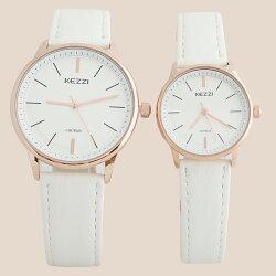 KEZZI珂紫 K-1516 IP 極簡錶面設計高雅玫針情侶對錶 - 大型/小型