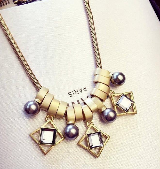 不規則水晶珍珠誇張項鍊 鎖骨鏈 高質感 項鍊 女 項鍊 歐美