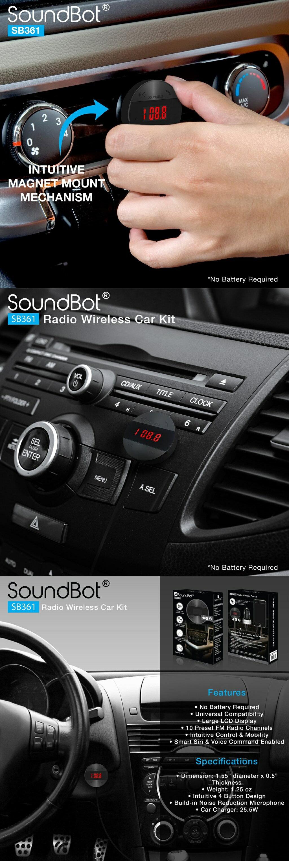 FM發射器 美國聲霸SoundBot SB361 FM LCD操控 - 車用音樂接收播放器 音源孔轉換MP3