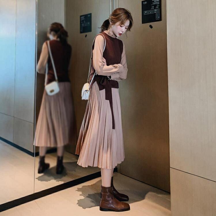 夯貨折扣!兩件式套裝 2020春秋季兩件套裝長袖連衣裙新款女裝收腰顯瘦氣質長款百褶裙子