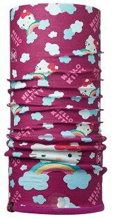 【【蘋果戶外】】BF113204BUFFPolartec莓紫彩紅kitty兒童冬季保暖兩段式吸濕排汗魔術頭巾