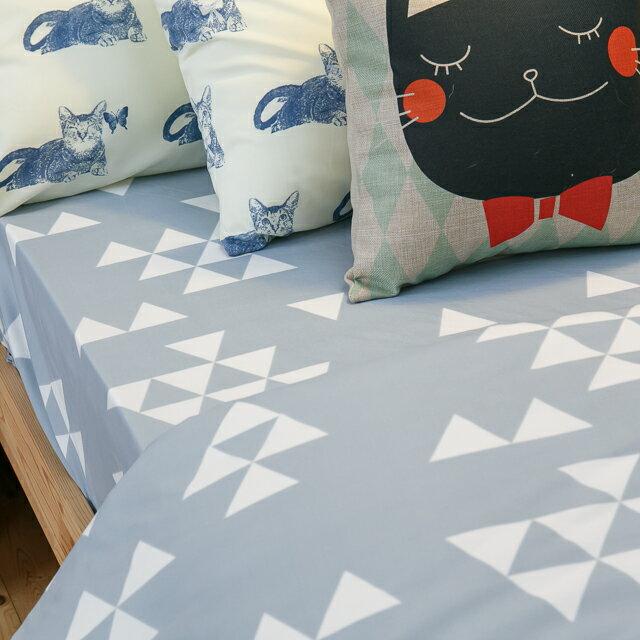 Blue cat 藍貓【床包藍底白三角形】單人/雙人熱賣組   舒適磨毛布 台灣製造 6