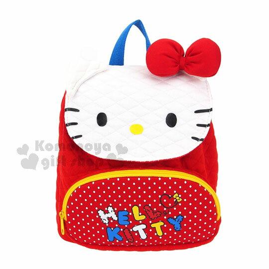 〔小禮堂〕Hello Kitty 兒童後背包《迷你.紅.點點.大臉》適合1~3歲幼兒