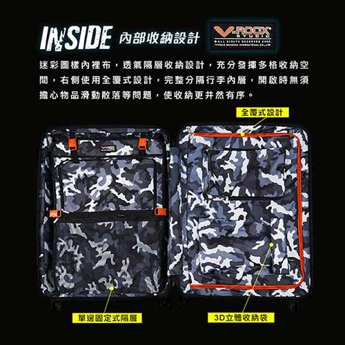 V-ROOX AXIS 28吋 原創設計可擴充行李箱 硬殼防爆雙層拉鏈旅行箱-綠迷彩 7