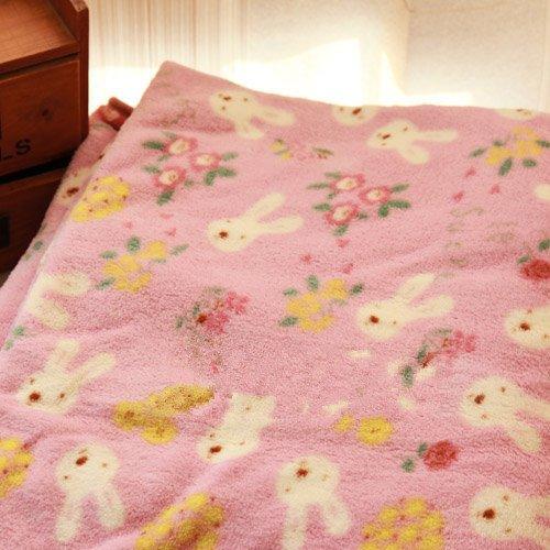 =優 =Le Sucre法國兔砂糖兔 粉紫空調毯 隨意毯 幼稚園午睡毛毯 珊瑚絨100~1