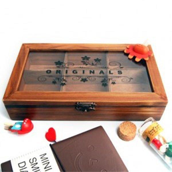 BO雜貨【SV9527】創意復古木盒 壓克力透明蓋 6格珠寶盒首飾盒 鄉村風木質收納盒 大