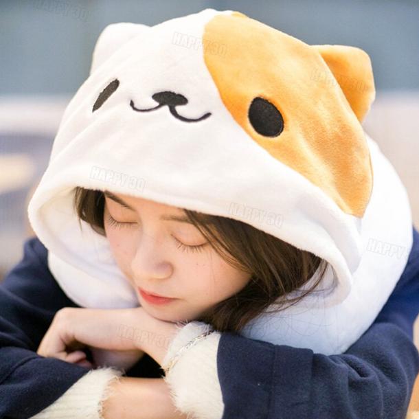 貓咪午睡枕環形枕辦公室午睡旅行睡覺枕頭貓耳帽貓咪帽趴睡枕雙用-黑/白【AAA4178】