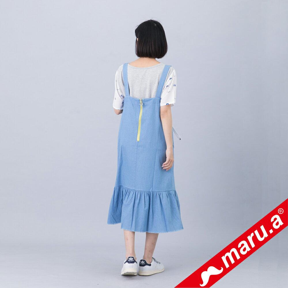 【618購物節】【maru.a】綁帶裝飾魚尾裙襬長洋裝(淺藍) 3
