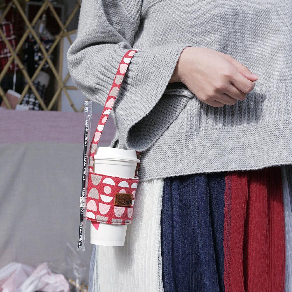 【FANTINO】雙層隔熱環保飲料提袋  杯套 杯袋 手搖杯套 咖啡杯套 ( 水玉迷宮) 紅水玉1769933