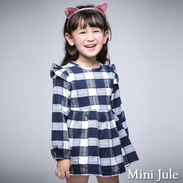 Azio Kids美國派:《MiniJule童裝》洋裝大格紋荷葉袖後拉鍊長袖洋裝(寶藍)