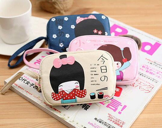 安古奈子雙拉鍊零錢包 可愛小錢包 手機包 卡通零錢包【庫奇小舖】