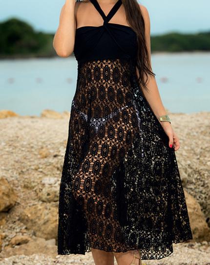 歐美款兩穿式蕾絲罩衫裙平口洋裝