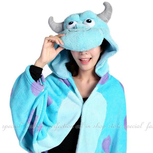 123便利屋:『怪獸』加厚珊瑚絨披肩.袖毯懶人斗篷睡袍【DH145】◎123便利屋◎