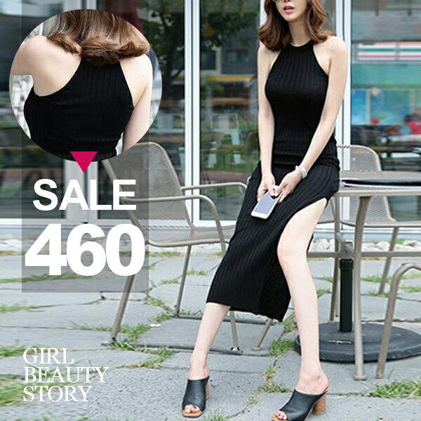 SISI【D7051】性感百搭超顯瘦無袖修身顯曲線包臀開高叉針織背心連身裙削肩螺紋棉洋裝