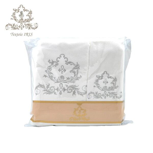 葡萄牙TexteisIRIS頂級棉製毛巾浴巾三件組(白底銀灰色繡花)