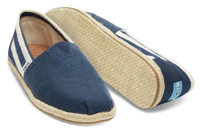 【TOMS】藍色寬條紋學院風平底鞋 Navy Stripe University Women's Clssics【全店免運】 4