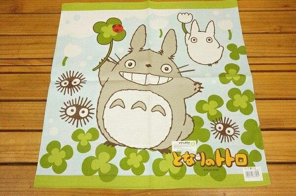 【真愛日本】18030800012 日本製純綿大手帕巾-幸運草藍綠 宮崎駿 龍貓 TOTORO 手帕巾 擦手巾 小毛巾
