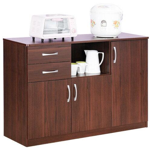 《Hopma》胡桃木色三門二抽五格廚房櫃