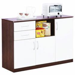 《Hopma》胡桃配白三門二抽五格廚房櫃