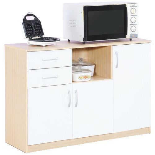 《Hopma》白橡配白三門二抽五格廚房櫃