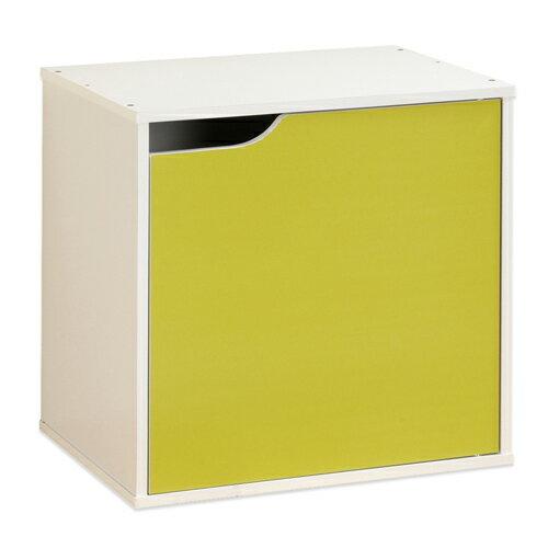 《Hopma》白配亮綠單門收納櫃