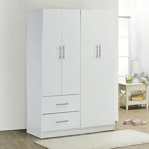 《Hopma》時尚白四門二抽衣櫃