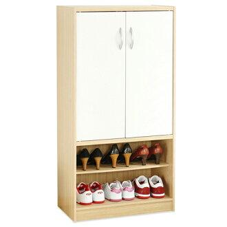 《Hopma》白橡配白雙門六格鞋櫃