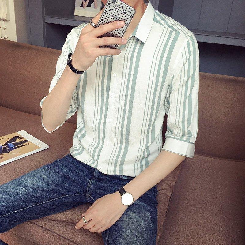 FINDSENSE H1 2018  夏季 新款 帥氣 修身 綠條紋 中袖 百搭 襯衫 休閒   潮流 時尚 男 襯衫