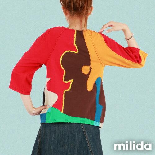 【Milida,全店七折免運】-秋冬單品-T恤款-甜美拼貼款 3