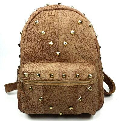 ☆後背包真皮雙肩包-歐美街頭個性鉚釘女包包73lp20【獨家進口】【米蘭精品】