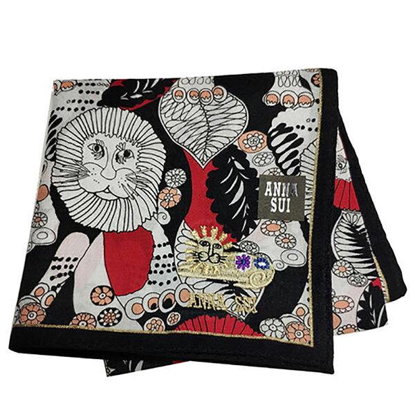 ANNASUI繽紛叢林獅王圖騰刺繡字母LOGO刺繡帕領巾(紅色系)